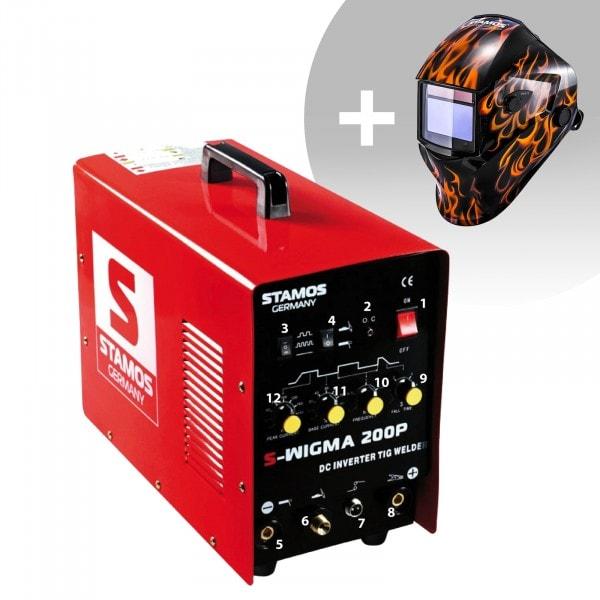 Svařovací set TIG svářečka - 200 A - 230 V - Puls + Svářecí helma - Firestarter 500 - ADVANCED SERIES
