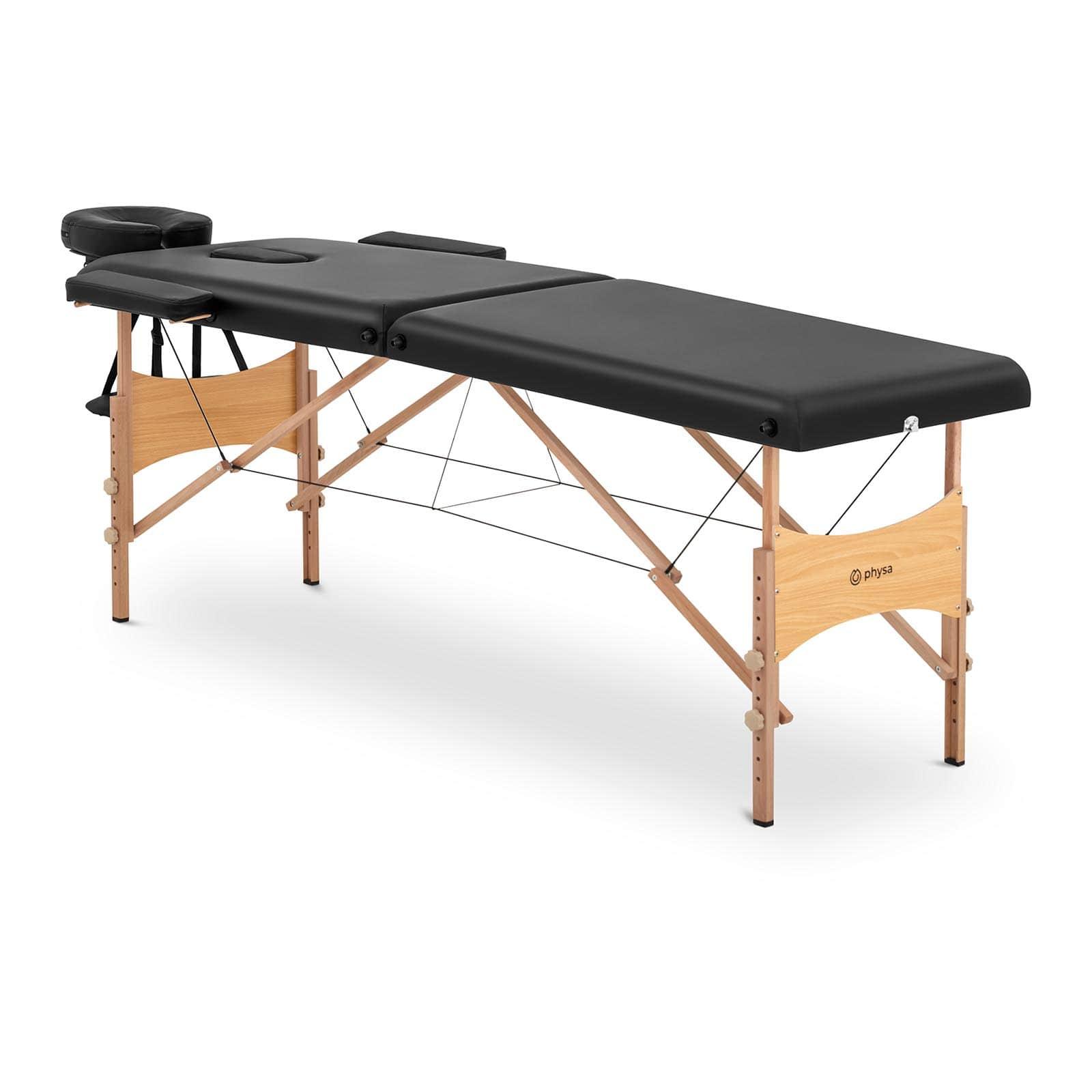 Łóżko do masażu Toulouse Black - składane - czarne