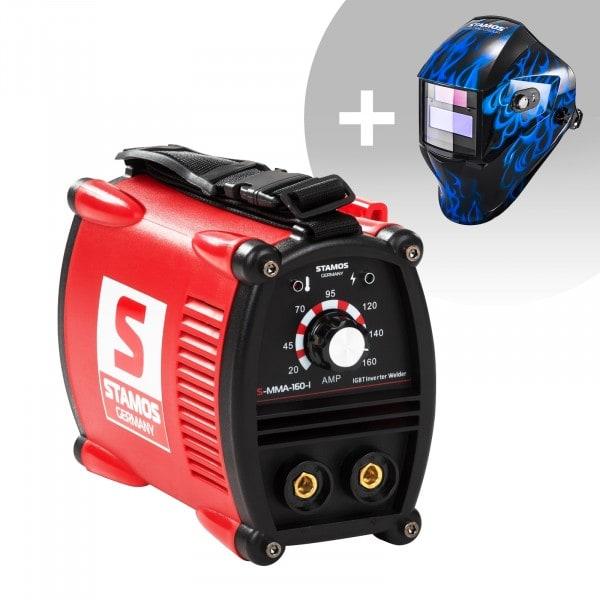 Svařovací set Elektrodová svářečka - 160 A - 230 V - IGBT + Svářecí helma - Sub Zero - EASY SERIES