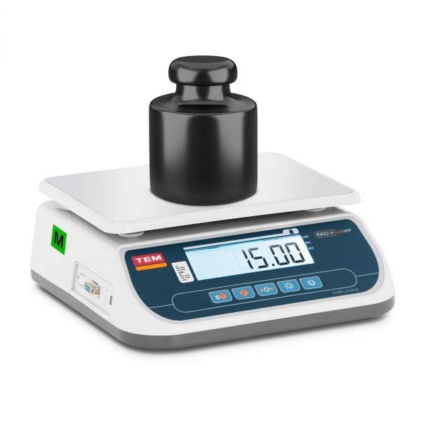 Tischwaage - geeicht - 15 kg / 5 g - LCD