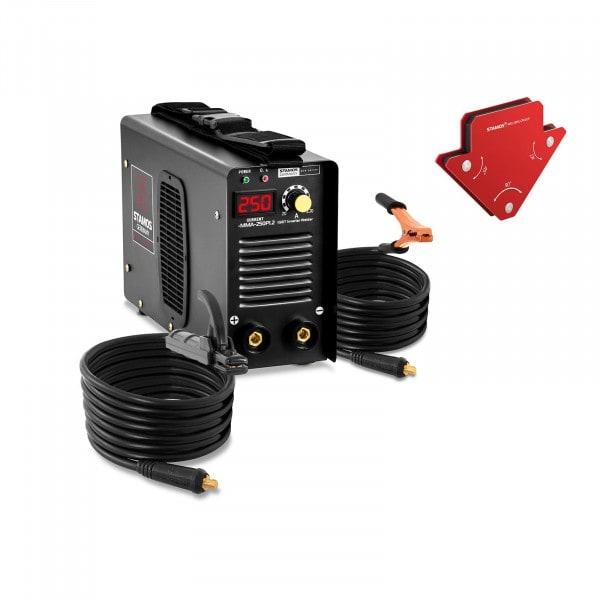Elektróda hegesztőgép készlet plusz 2 hegesztési szög - 250 A - 8 m kábel - Hot Start