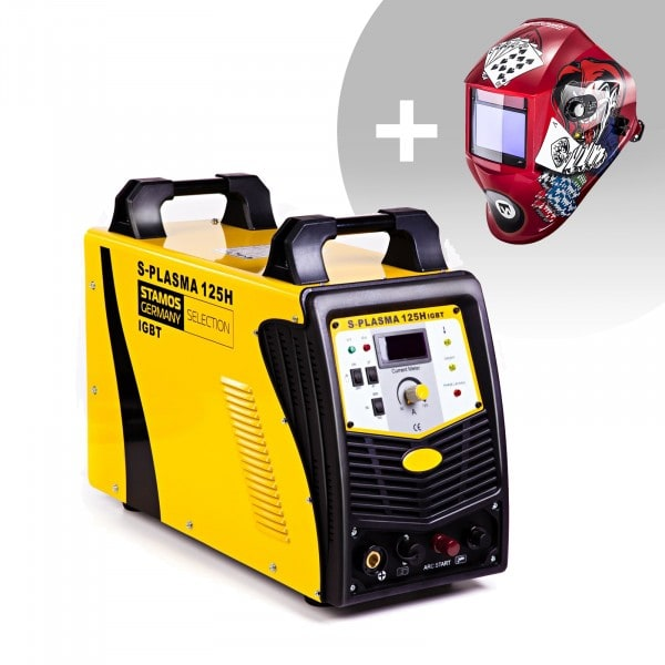 Welding Set Plasma Cutter - 125 A - 400 V - Pilot Ignition + Welding helmet –Pokerface - PROFESSIONAL SERIES