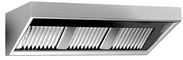 Wandhaube Eco - 2600x900x450 mm - Komplett aus Edelstahl - inkl. Beleuchtung - Flammschutzfilter - u