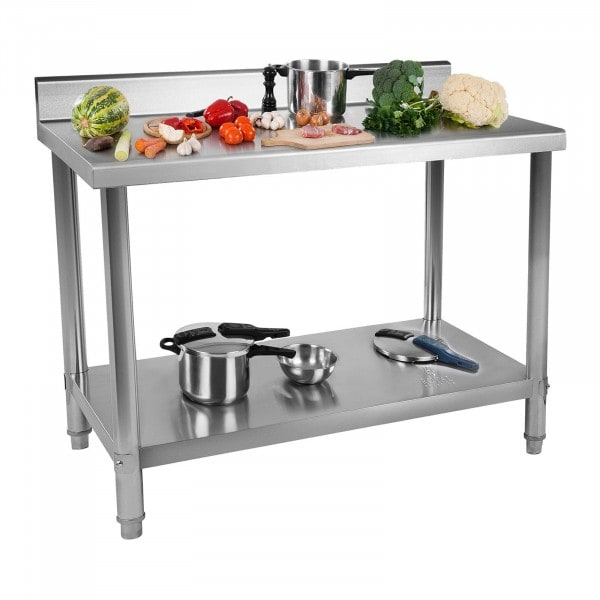 Stainless Steel Work Table - 100 x 70 cm - upstand - 120 kg capacity
