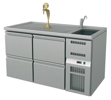 Ausschanktheke - 1565x700x900 mm - Umluftkühlung - 4 Schubladen für Flaschen