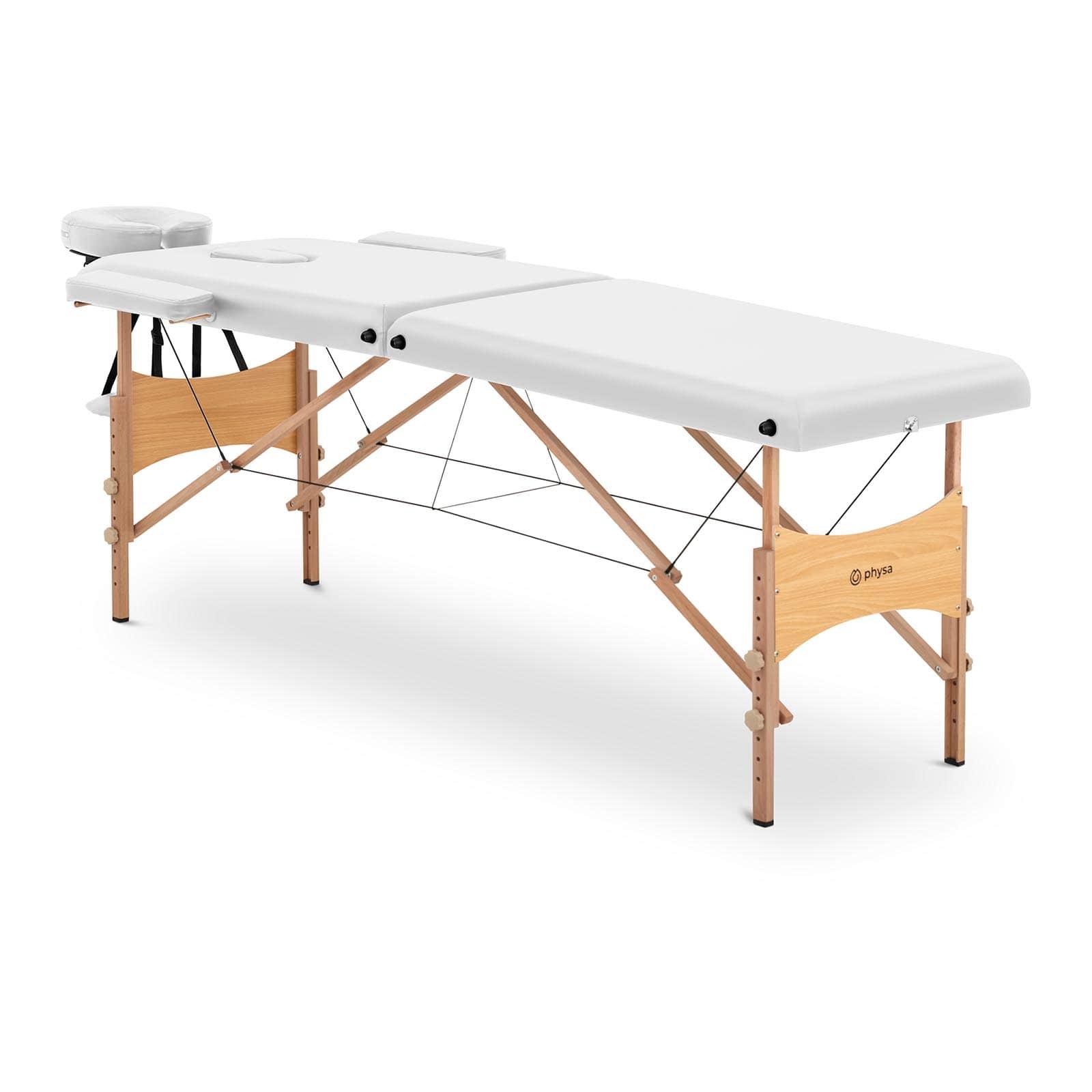Łóżko do masażu Toulouse White - składane - białe
