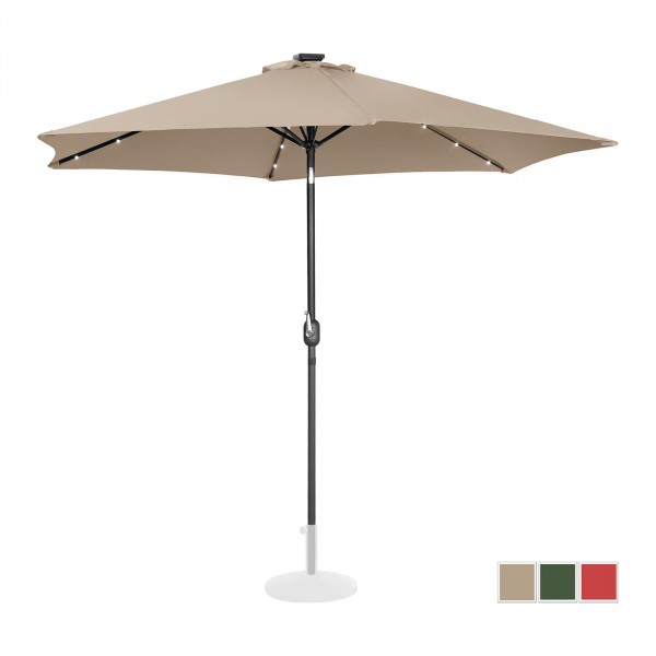 Parasol with lights - creme - round - Ø 300 cm - tiltable