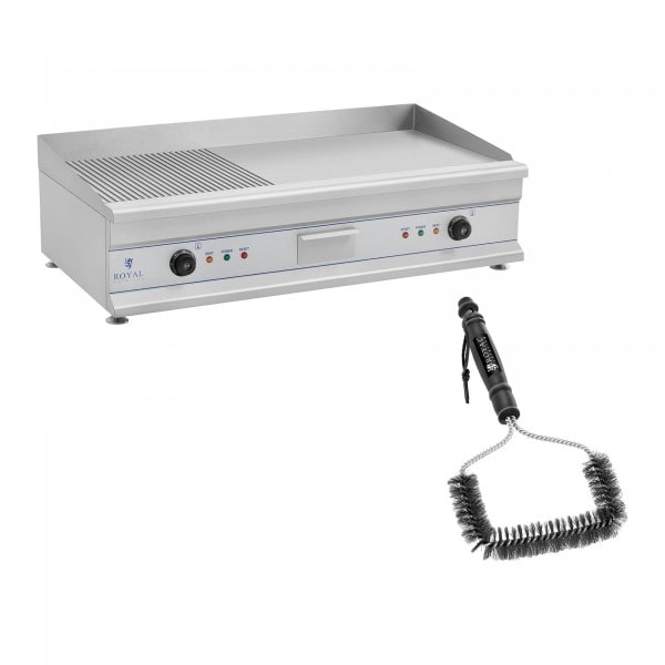 Double Electric Griddle Set with Grill Brush - 100 cm - ribbed/smooth - 2 x 3200 W