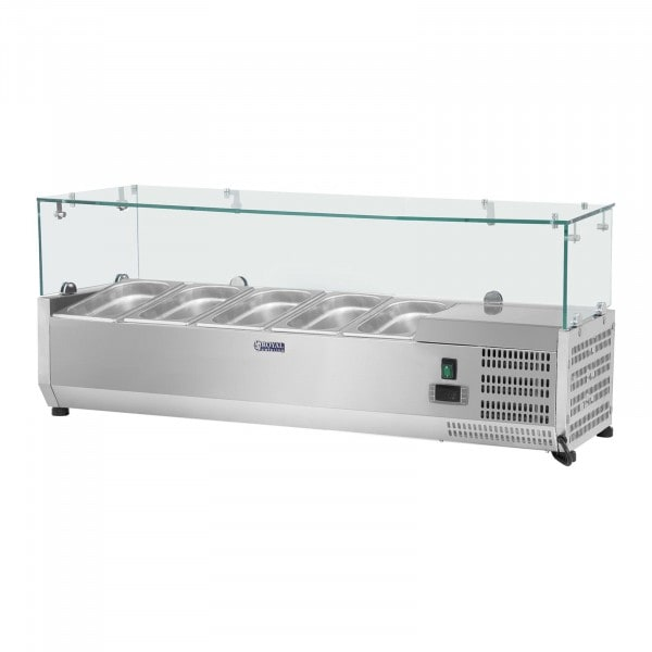 Hűtővitrin - 120 x 33 cm - 5 darab 1/4 GN edény- üvegborítás