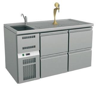 Ausschanktheke - 1565x700x900 mm - Umluftkühlung - 500 W - 4 Schubladen für Flaschen