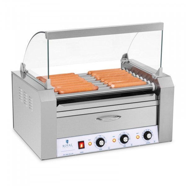 Factory seconds Hotdog Grill - 9 rollers - Warming drawers - Stainless steel