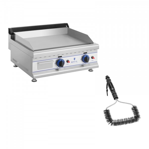 Double Gas Griddle with Grill Brush - 65 cm - propane/butane - 30 mbar