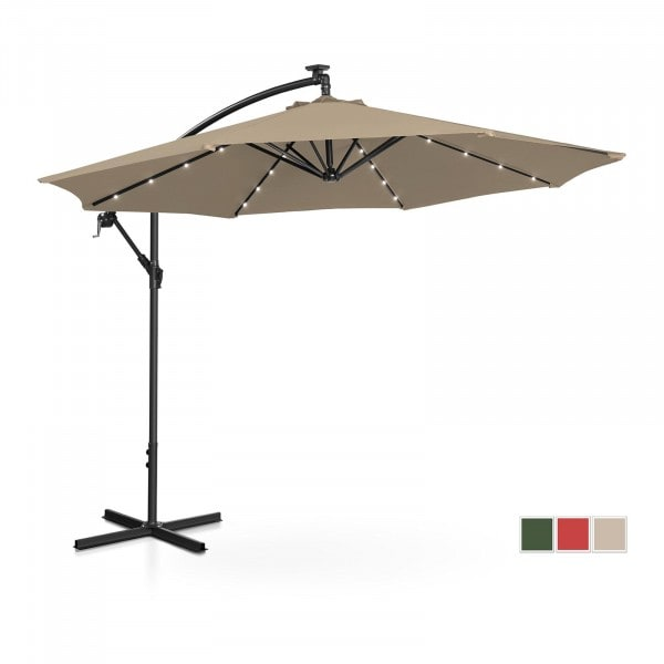 Occasion Parasol avec LED - Taupe - Rond - Ø 300 cm - Inclinable