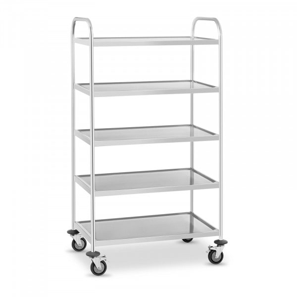 Stainless Steel Serving Trolley - 5 Shelves - Up To 250 kg
