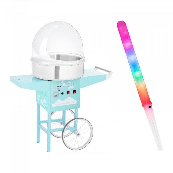 Zestaw Maszyna do waty cukrowej - 52 cm + Pokrywa + Świecące pałeczki - LED - 100 szt.