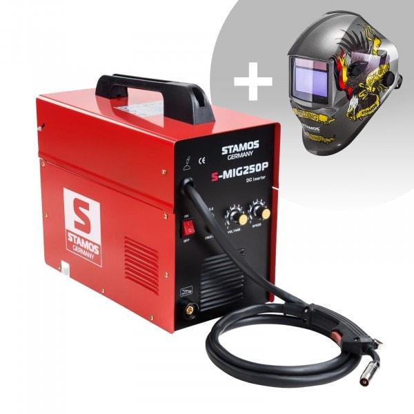 Schweißset MIG/MAG Schweißgerät - 250 A - 230 V - tragbar + Schweißhelm – Eagle Eye