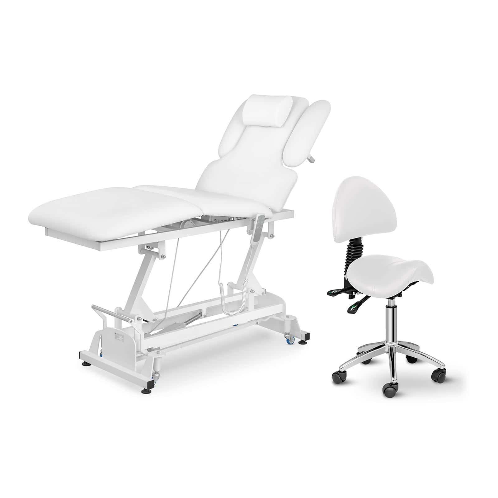 Zestaw Łóżko do masażu Physa Nantes White - białe + Krzesło siodłowe Berlin - białe - oparcie