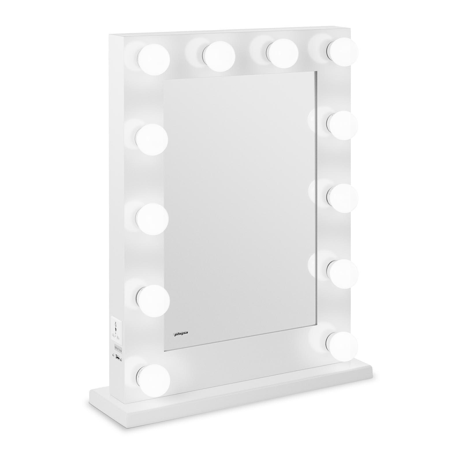 Lustro z żarówkami - LED - biała rama - 65 x 50 cm