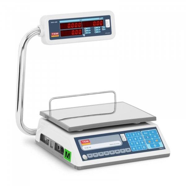 Tweedehands Prijsweegschaal - 15 kg - dubbele LED - nauwkeurigheidsklasse III (commerciële schaal)
