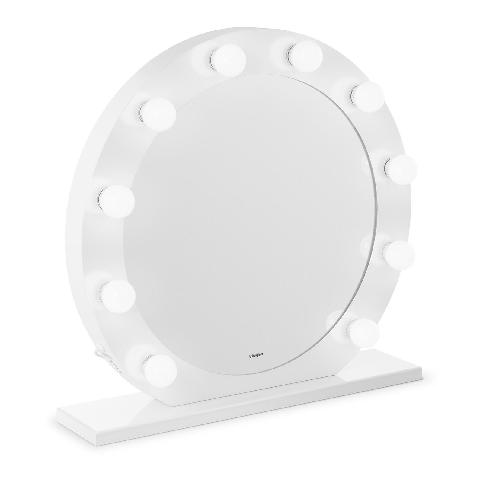 Lustro z żarówkami - LED - biała rama - Ø70 cm