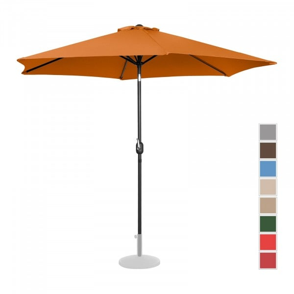 Large Outdoor Umbrella - orange - hexagonal - Ø 300 cm - tiltable