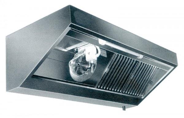 Wandhaube Eco - 2400x900x450 mm - Komplett aus Edelstahl - inkl. Beleuchtung - Flammschutzfilter - F