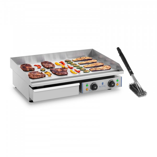 Double Electric Griddle Set with 3-Sided Grill Brush - 72.5 cm - smooth - 2 x 2,200 W