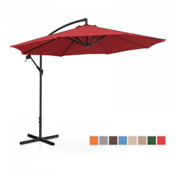 Occasion Parasol de jardin - bordeaux - rond - Ø 300 cm - inclinable