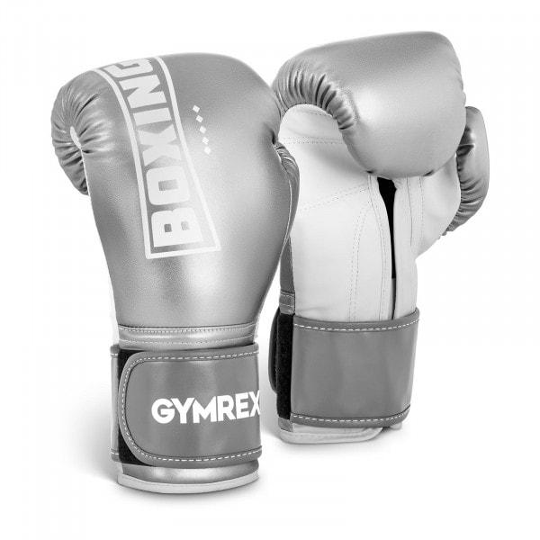 Boxhandschuhe - 12 oz - metallic-silbern und weiß
