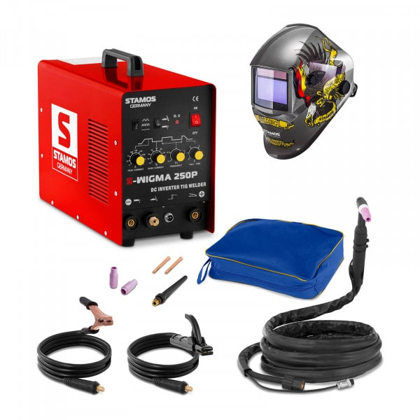 TIG-svets - 250 A - 230 V - puls + Svetshjälm – Eagle Eye – Advanced Series