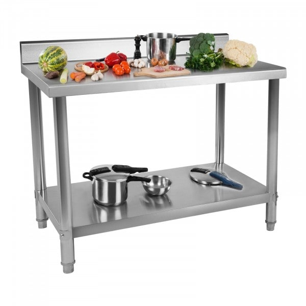 Factory seconds Stainless Steel Table - 100 x 60 cm - Upstand - 114 kg capacity