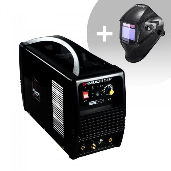 Set de soldadura Soldadora multiproceso -TIG 180A-Cut50A -PRO + Careta de soldar – Carbonic – PROFESSIONAL SERIES