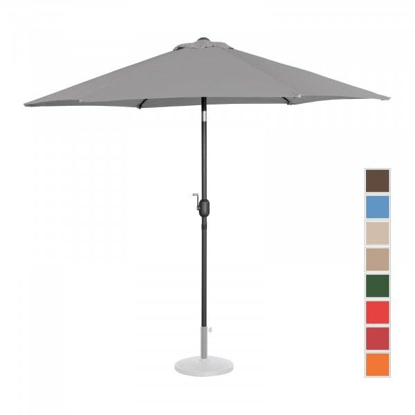 Tweedehands Grote parasol - donkergrijs - zeshoekig - Ø 270 cm- kantelbaar