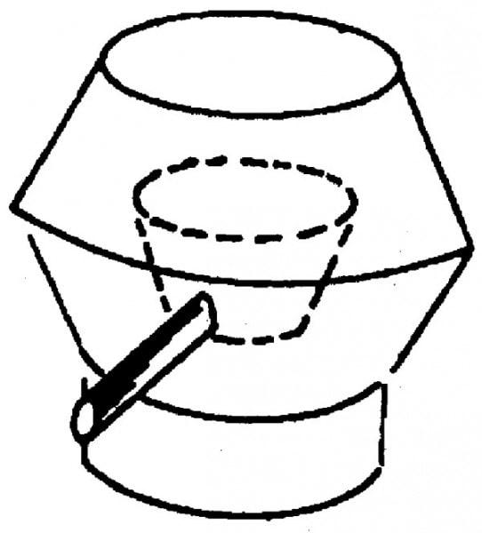 Deflektorhaube mit Ablauf - 430x430x620mm