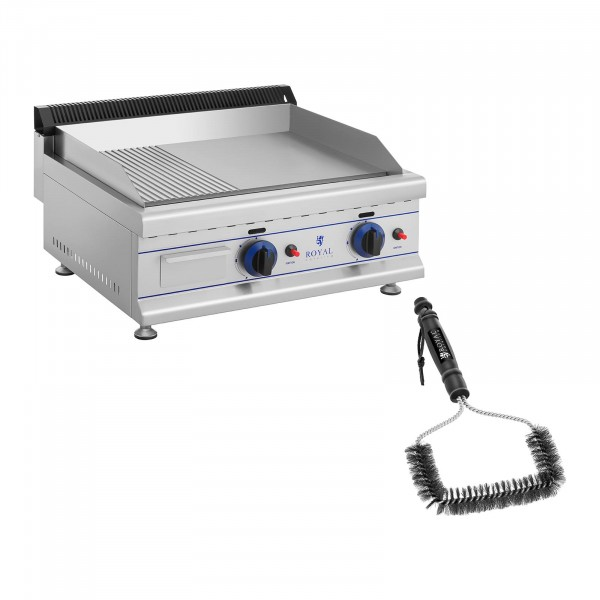 Set: Double Gas Griddle with Grill Brush - 65 cm - natural gas - 20 mbar