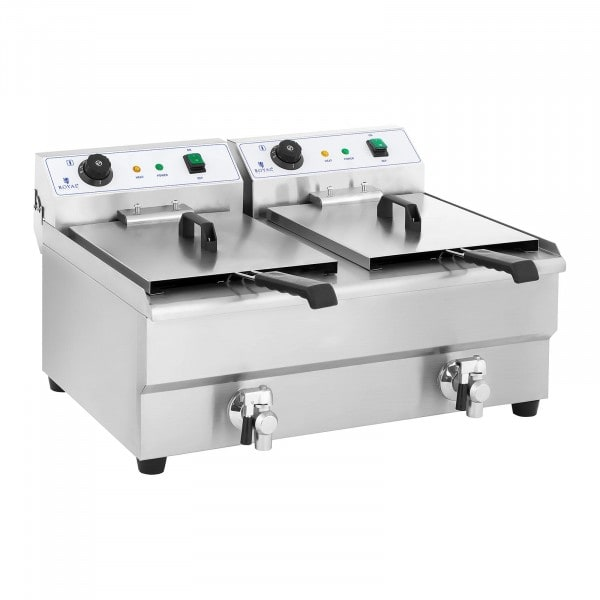 Electric Deep Fryer - 2 x 16 Litres with Drain Tap