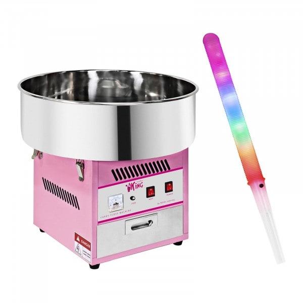 Sockervaddsmaskin - Set - inkl. 50 LED-sockervaddspinnar - 1.200 Watt - 50 Stk.