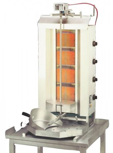 Gas-Gyrosgerät Potis GD4 - 550x740x1120mm - komplett mit Fettwanne - Stellfläche 550x740mm