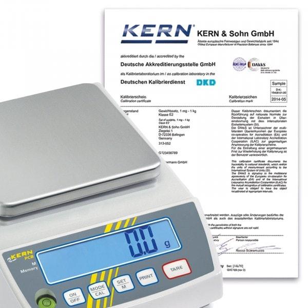 Certificato di calibrazione disponibile esclusivamente per determinati modelli del marchio Kern 165