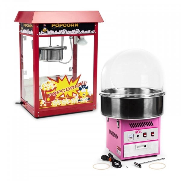 Popcorn Machine and Cotton Candy Machine Set - 1,600 W / 1,200 W - sneeze guard