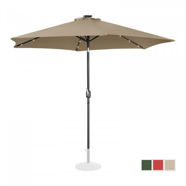 Parasol with lights - taupe - round - Ø 300 cm - tiltable