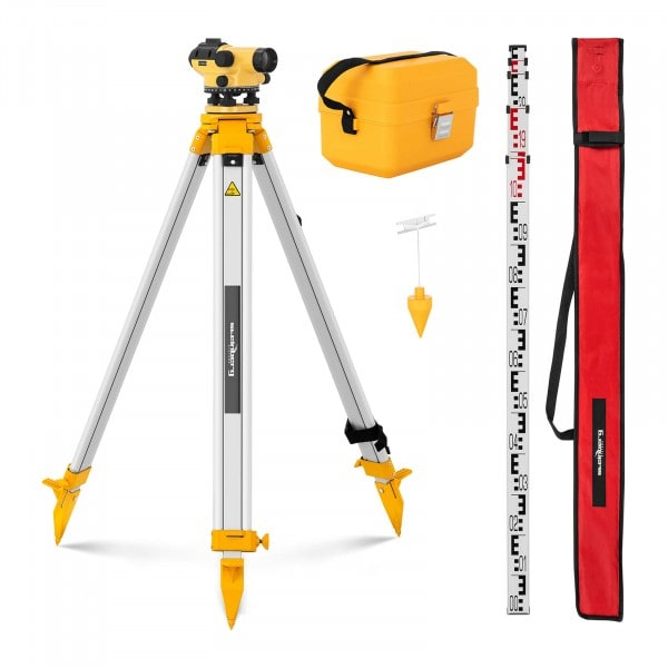 Nivelliergerät - mit Stativ und Nivellierlatte - 32-fache Vergrößerung - 38-mm-Objektiv - Abweichung