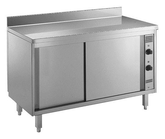 Wärmeschrank - 1600x600x850mm - aus CNS 18/10 - doppelwandigen Schiebetüren - Zwischenboden - mit Au
