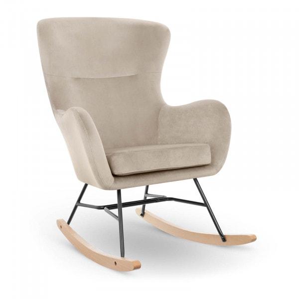 Rocking Chair - velvet - beech wood - grey