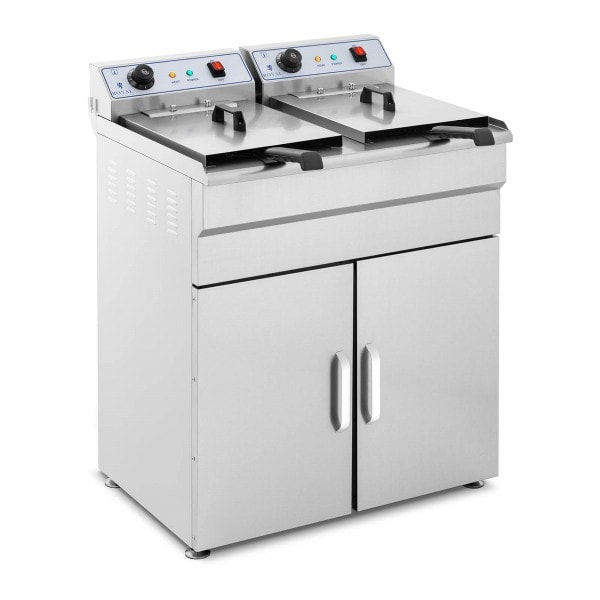 Electric deep fryer - 2 x 16 litres - 400 V - base cabinet