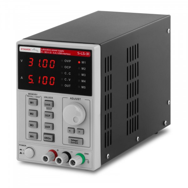 Bench Power Supply - 0-30 V, 0-5 A DC, 250 W - USB - 4 memory spaces