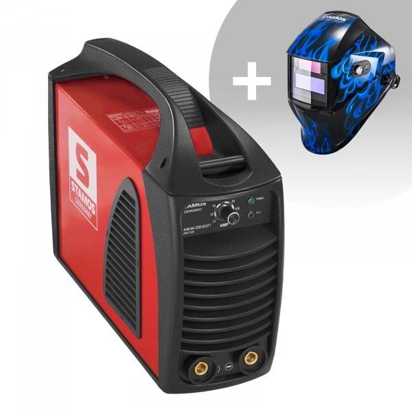 Svařovací set Elektrodová svářečka - 120 A - Hot Start - IGBT + Svářecí helma - Sub Zero - EASY SERIES