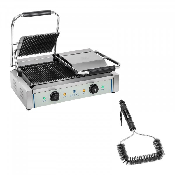 Double Contact Grill and Grill Brush Set - ribbed - 2 x 1,800 W