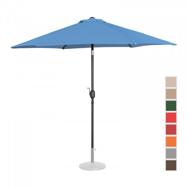 Sonnenschirm groß - blau - sechseckig - Ø 270 cm - neigbar