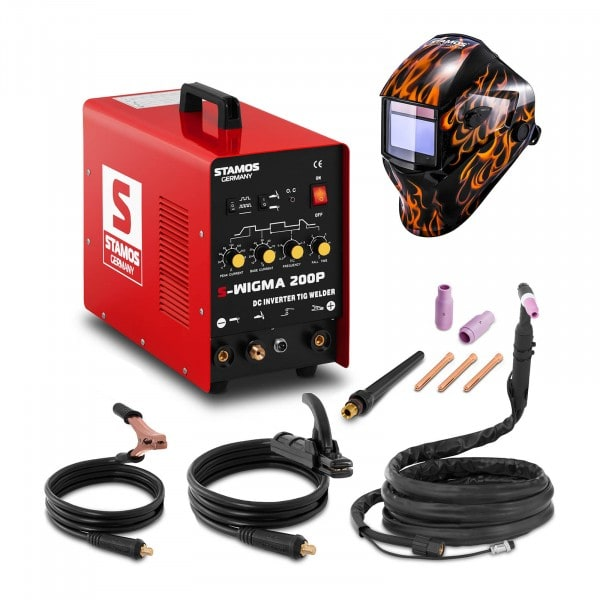 Set d'équipement de soudage Poste à souder TIG - 200A - 230V - Puls + Masque de soudure –Firestarter 500 – ADVANCED SERIES